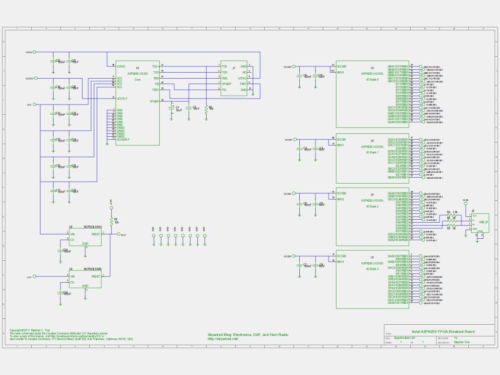 A3PN250 FPGA Breakout Board Schematic