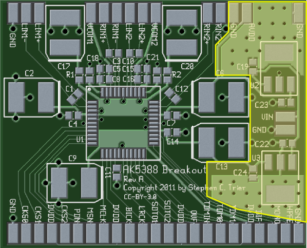 The AK5388 breakout board with the power supply location highlighted.
