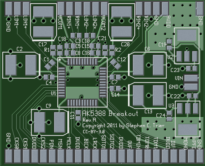 Photorealistic view of AK5388 breakout board, top side