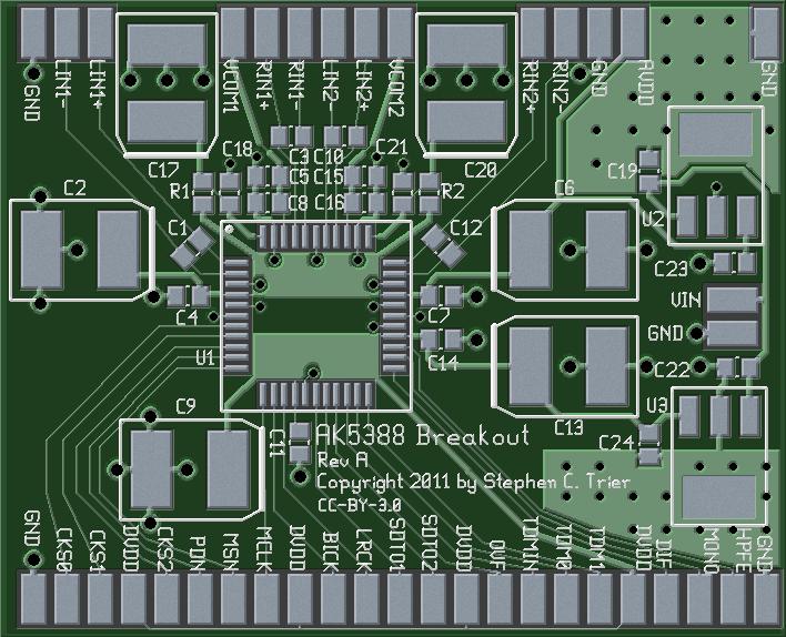 Photorealistic view of AK5388 breakout board, top side