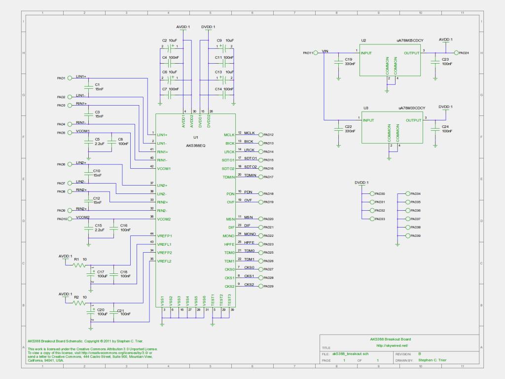 AK5388 breakout board schematic, revision B