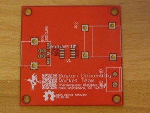 Boston University Rocket Team thermocouple digitizer PCB, top side