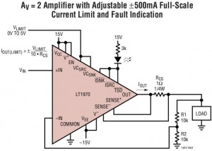 LT1970 power op amp configured for a gain of two and a variable current limit input