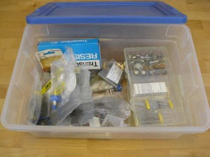 Disorganized bin of resistors