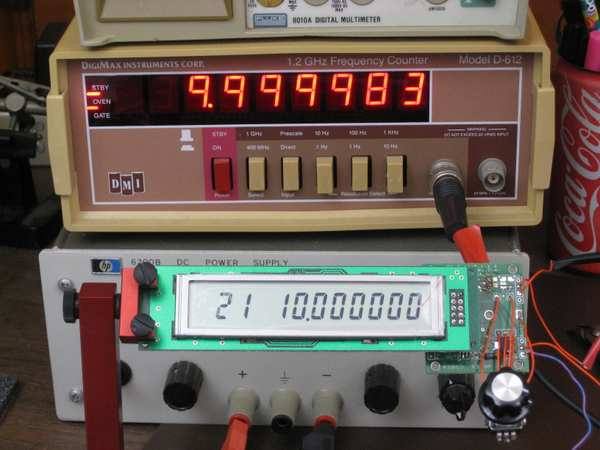 Si570 signal source and frequency counter, showing 17 Hz difference at 10 MHz