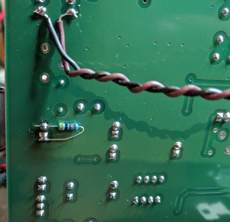 Resistor location on the PCB.
